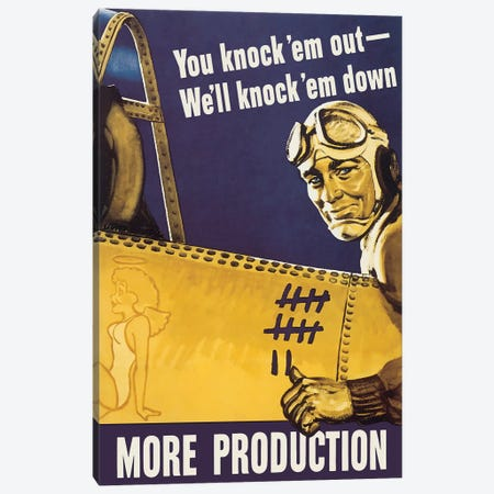 WWII Propaganda Poster Of A Fighter Pilot Pointing Towards The Kill Markings On His Plane Canvas Print #TRK188} by John Parrot Canvas Art