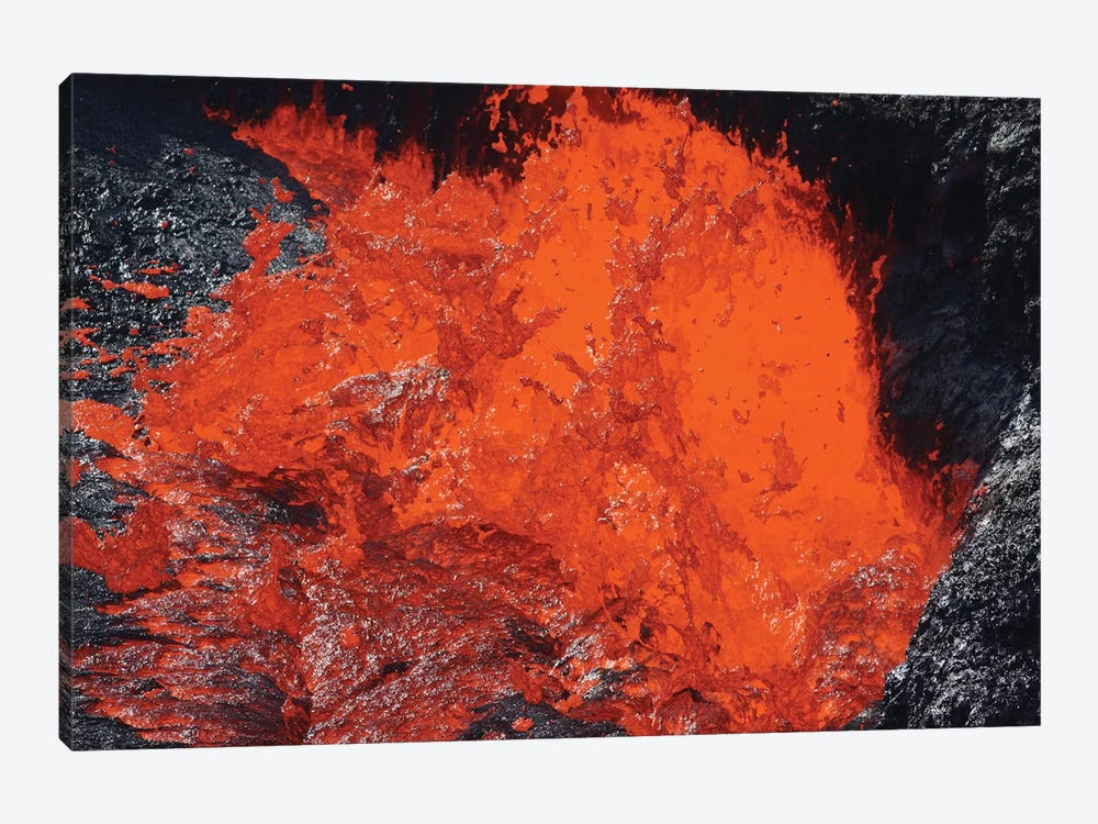 Lava Bursting At Edge Of Active Lava Lake, Erta Ale Volcano, Danakil Depression, Ethiopia II 1-piece Canvas Art Print