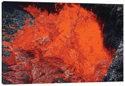 Lava Bursting At Edge Of Active Lava Lake, Erta Ale Volcano, Danakil Depression, Ethiopia II Canvas Art Print