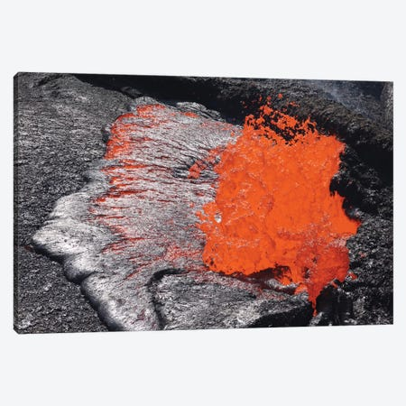 Lava Bursting At Edge Of Active Lava Lake, Erta Ale Volcano, Danakil Depression, Ethiopia III Canvas Print #TRK1893} by Richard Roscoe Art Print