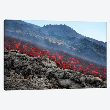 Lava Flow During Eruption Of Mount Etna Volcano, Sicily, Italy I Canvas Print #TRK1895} by Richard Roscoe Canvas Artwork