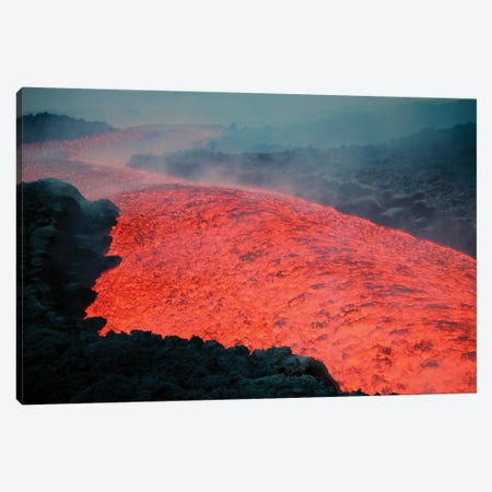Lava Flow During Eruption Of Mount Etna Volcano, Sicily, Italy II Canvas Print #TRK1896} by Richard Roscoe Canvas Wall Art