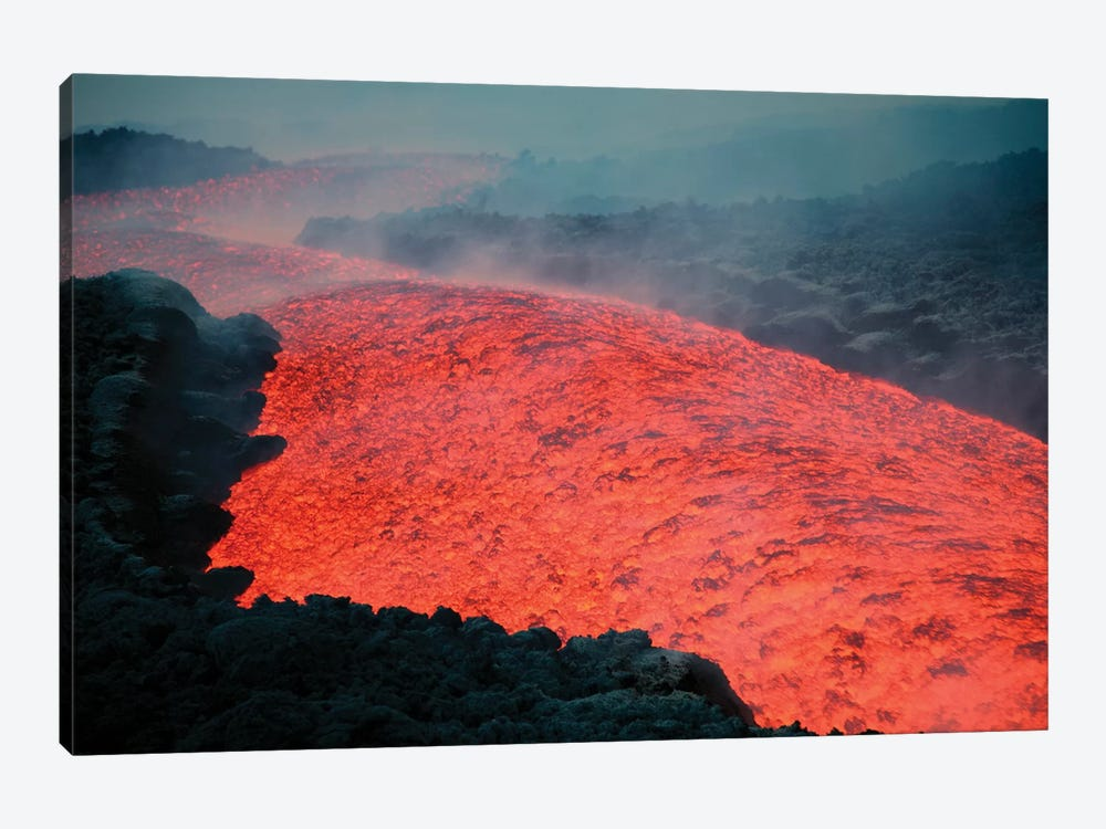 Lava Flow During Eruption Of Mount Etna Volcano, Sicily, Italy II by Richard Roscoe 1-piece Canvas Print