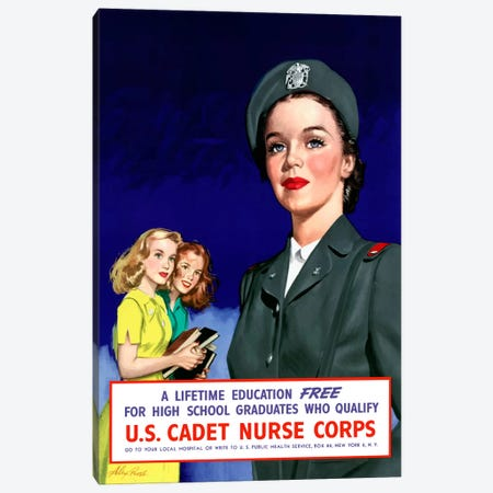 Join The US Cadet Nurse Corps Vintage Poster III Canvas Print #TRK18} by John Parrot Canvas Art Print