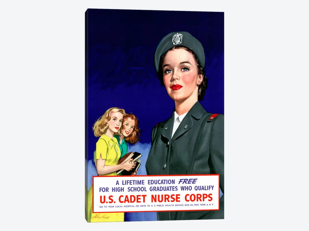 Join The US Cadet Nurse Corps Vintage Poster III by John Parrot 1-piece Canvas Artwork