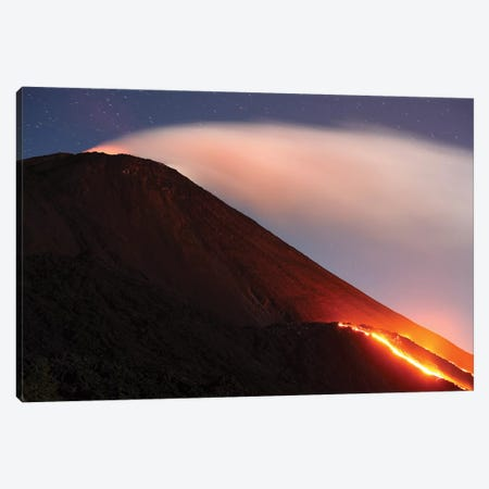 Lava Flowing From A Small Lava Shield On The Flank Of Pacaya Volcano, Guatemala Canvas Print #TRK1900} by Richard Roscoe Art Print