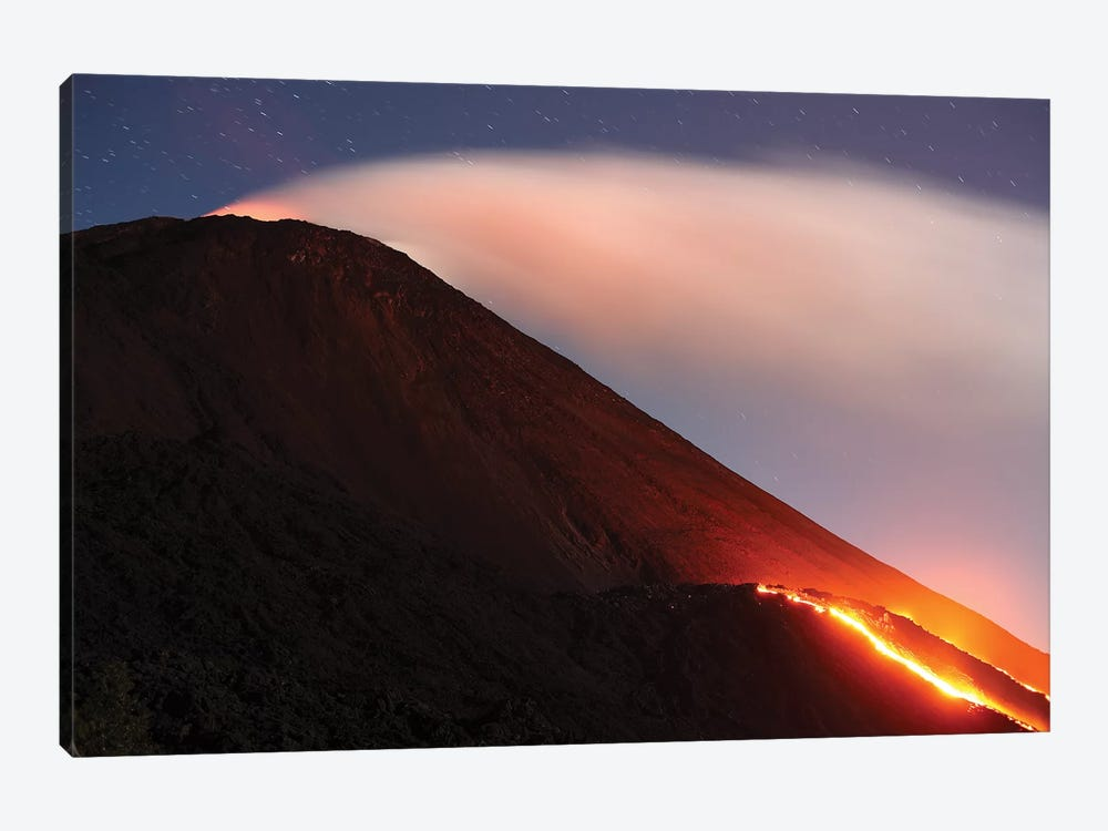 Lava Flowing From A Small Lava Shield On The Flank Of Pacaya Volcano, Guatemala by Richard Roscoe 1-piece Canvas Print