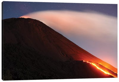Lava Flowing From A Small Lava Shield On The Flank Of Pacaya Volcano, Guatemala Canvas Art Print