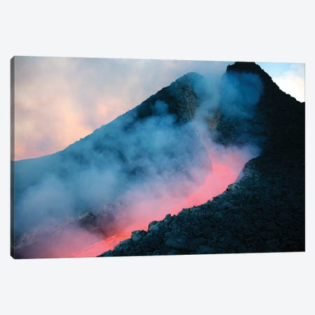 Lava Flowing From Base Of Hornito During Eruption Of Mount Etna Volcano, Sicily, Italy I Canvas Print #TRK1901} by Richard Roscoe Canvas Art Print
