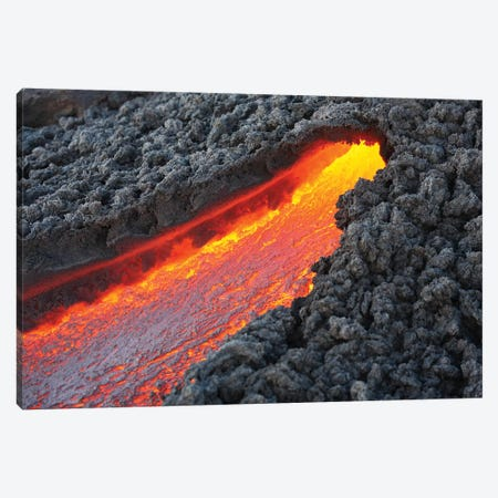 Lava Flowing From Small Tunnel On Flank Of Pacaya Volcano, Guatemala Canvas Print #TRK1903} by Richard Roscoe Canvas Print
