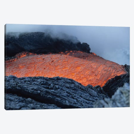 Lava Flowing Into Sea, Kilauea Volcano, Big Island, Hawaii I Canvas Print #TRK1905} by Richard Roscoe Canvas Wall Art