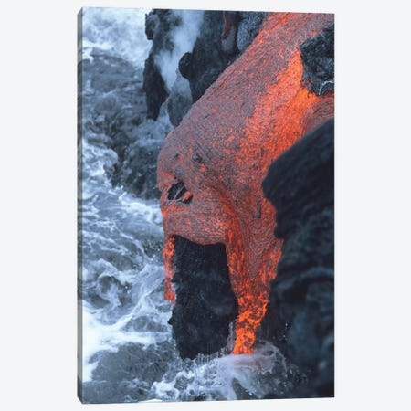 Lava Flowing Into Sea, Kilauea Volcano, Big Island, Hawaii II Canvas Print #TRK1906} by Richard Roscoe Canvas Wall Art