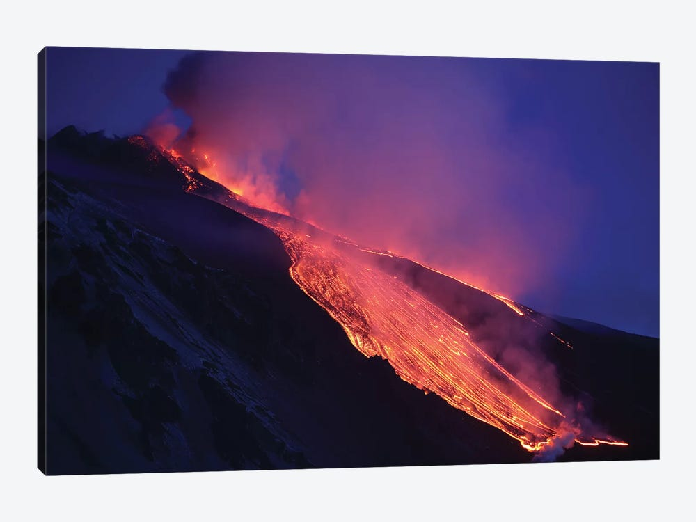 Lava Flowing Into Valle del Bove At Mount Etna Volcano, Italy by Richard Roscoe 1-piece Canvas Art