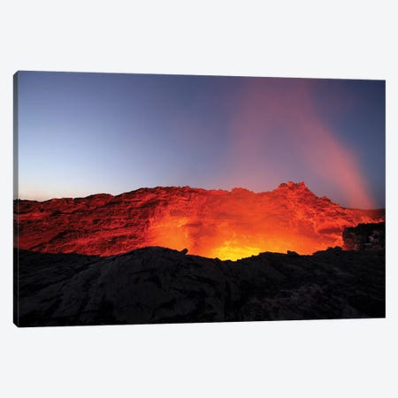 Lava Lake Illuminating Walls Of Pit Crater At Night, Erta Ale Volcano, Danakil Depression, Ethiopia Canvas Print #TRK1908} by Richard Roscoe Art Print
