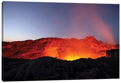 Lava Lake Illuminating Walls Of Pit Crater At Night, Erta Ale Volcano, Danakil Depression, Ethiopia Canvas Art Print