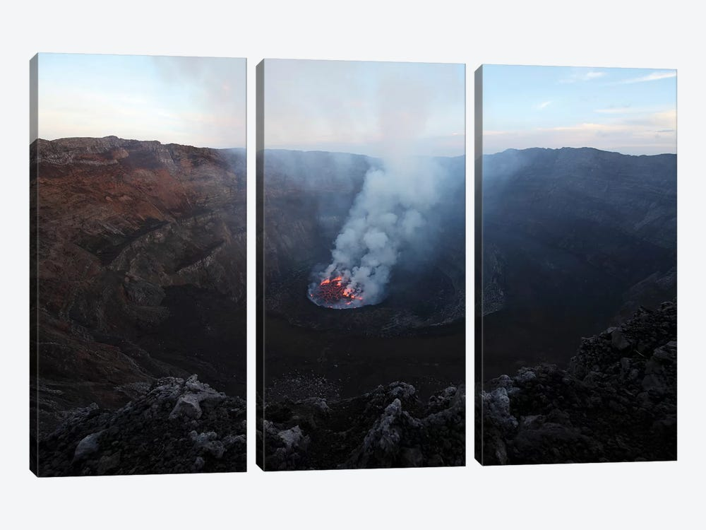 Lava Lake In Bottom Of Summit Caldera, Nyiragongo Volcano, Democratic Republic Of The Congo by Richard Roscoe 3-piece Canvas Wall Art