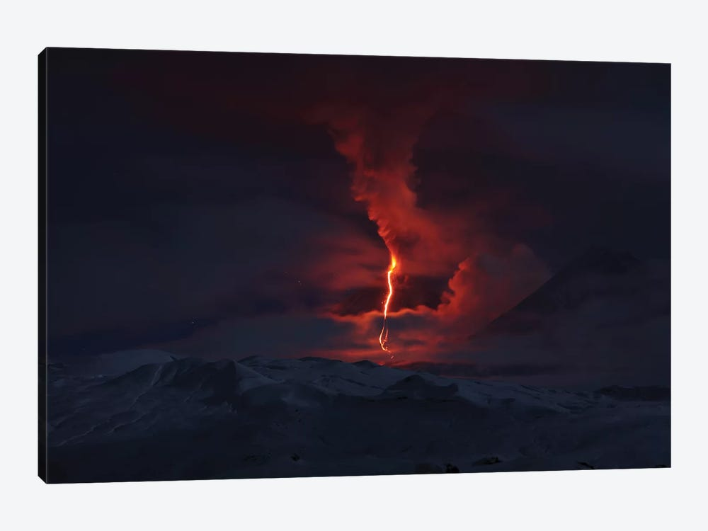 Nighttime Eruption Of Kliuchevskoi Volcano, Russia I by Richard Roscoe 1-piece Canvas Art Print