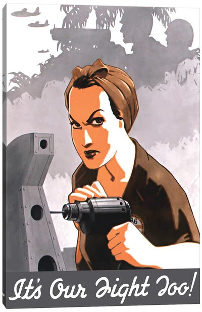 WWII Propaganda Poster Of Rosie The Riveter Operating A Drill Canvas Art Print