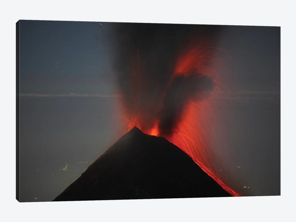 Nighttime Lava Eruption Of Fuego Volcano, Antigua, Guatemala 1-piece Canvas Wall Art