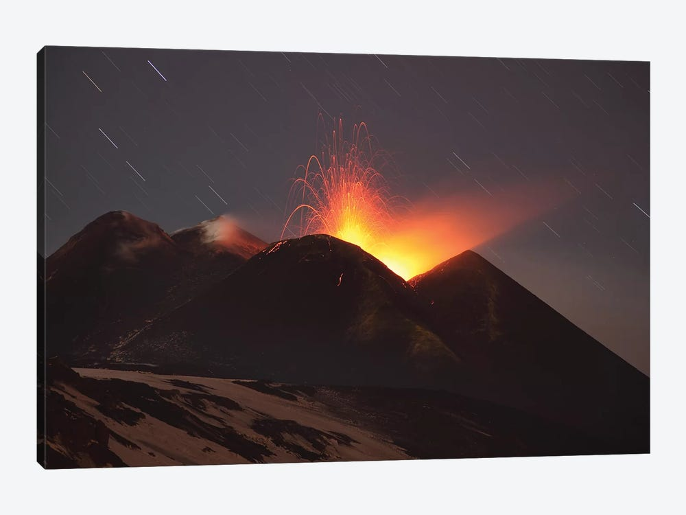 Nighttime Strombolian Activity At Mount Etna Volcano, Italy 1-piece Canvas Print