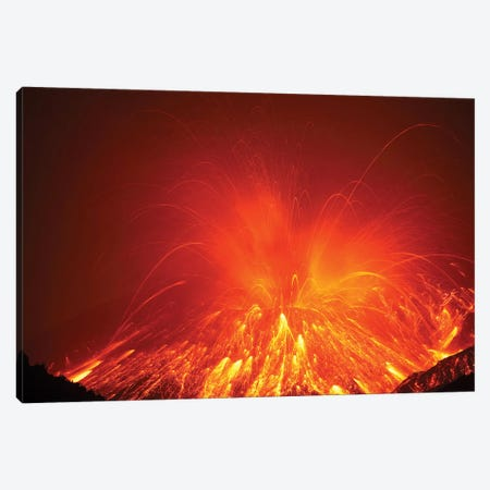 Powerful Night Time Explosive Eruption Of Sakurajima Volcano, Japan Canvas Print #TRK1924} by Richard Roscoe Canvas Artwork
