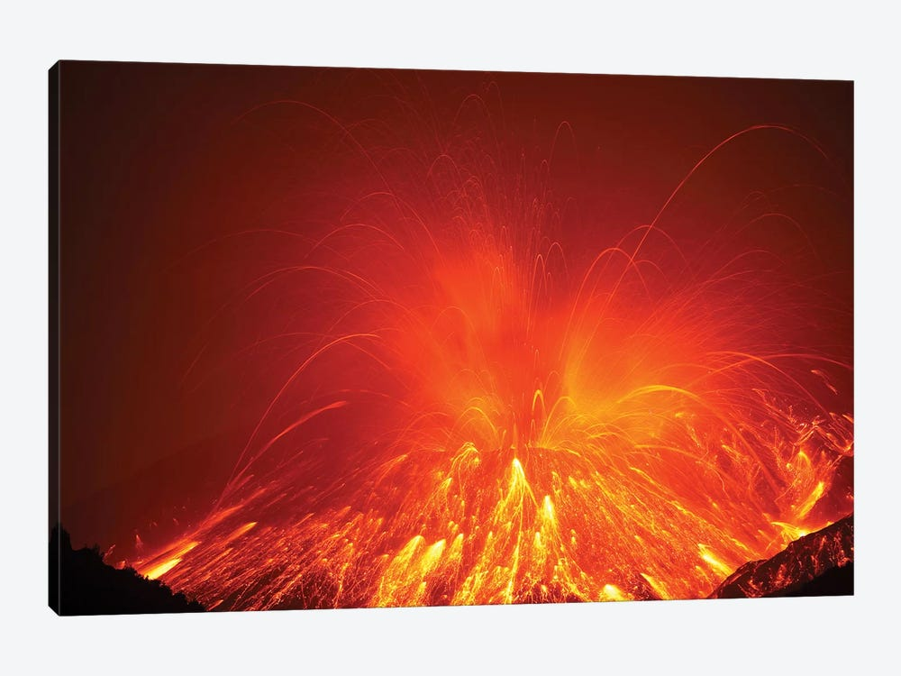Powerful Night Time Explosive Eruption Of Sakurajima Volcano, Japan by Richard Roscoe 1-piece Canvas Print