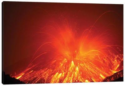 Powerful Night Time Explosive Eruption Of Sakurajima Volcano, Japan Canvas Art Print