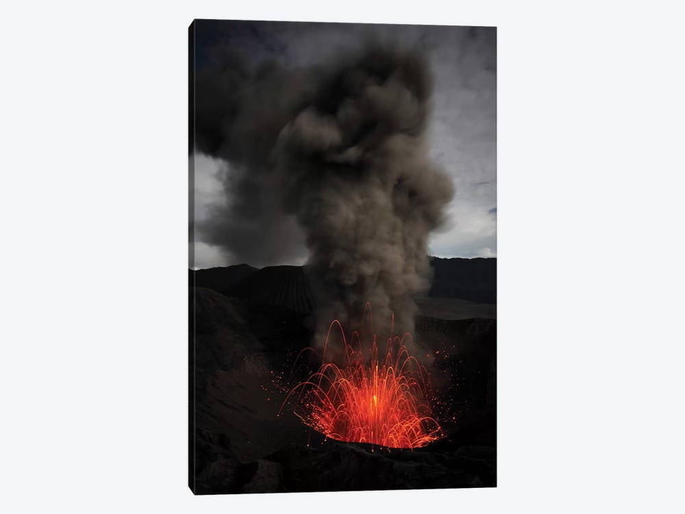 Strombolian Eruption Of Mount Bromo Volcano, Tengger Caldera, Java, Indonesia II by Richard Roscoe 1-piece Canvas Art