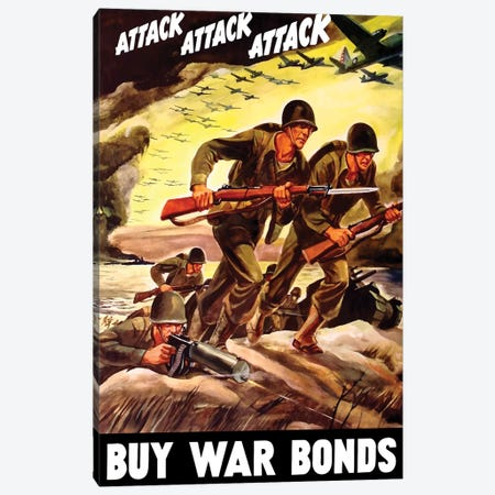 WWII Propaganda Poster Of Soldiers Assaulting A Beach With Rifles Canvas Print #TRK192} by John Parrot Art Print