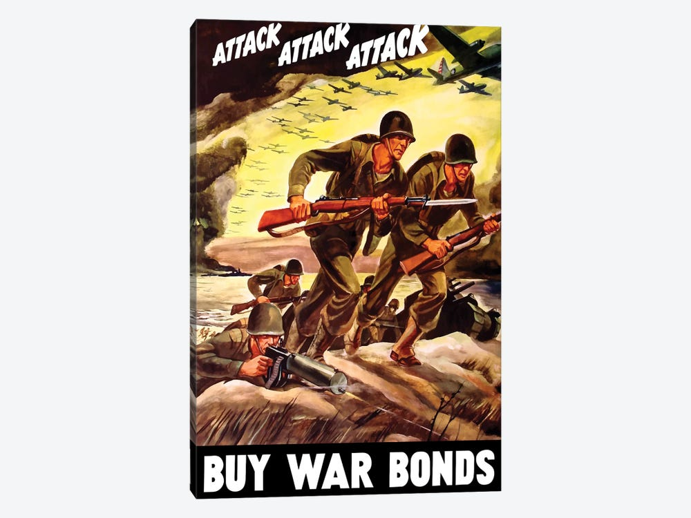 WWII Propaganda Poster Of Soldiers Assaulting A Beach With Rifles by John Parrot 1-piece Canvas Art Print