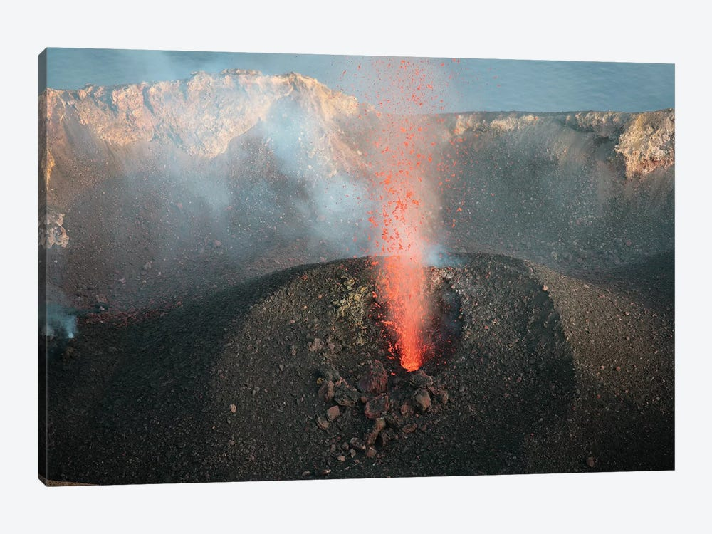 Strombolian Eruption Of Vent In Crater Terrace Of Stromboli Volcano, Aeolian Islands, Italy 1-piece Art Print