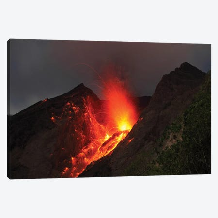Strombolian Type Eruption Of Batu Tara Volcano, Indonesia II Canvas Print #TRK1937} by Richard Roscoe Art Print