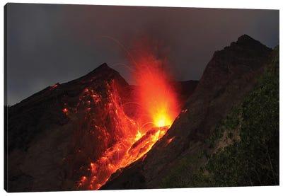Strombolian Type Eruption Of Batu Tara Volcano, Indonesia II Canvas Art Print