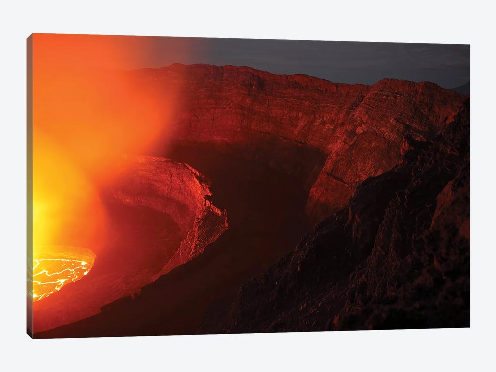 Summit Caldera With Lava Lake, Nyiragongo Volcano, Democratic Republic Congo by Richard Roscoe 1-piece Canvas Art Print