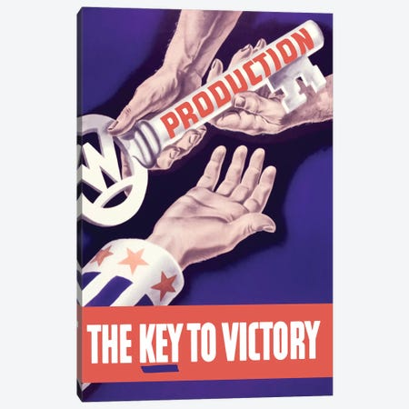 WWII Propaganda Poster Of Someone Giving A Large Key To The Hand Of Uncle Sam Canvas Print #TRK194} by John Parrot Canvas Art