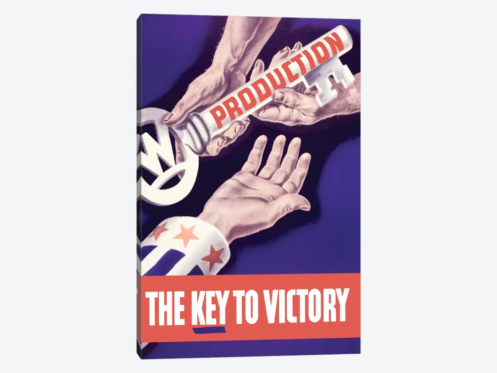 WWII Propaganda Poster Of Someone Giving A Large Key To The Hand Of Uncle Sam by John Parrot 1-piece Canvas Print
