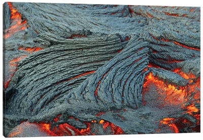 Close-Up Of Lava Flow Off The South End Of The Big Island In Hawaii Canvas Art Print
