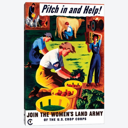 WWII Propaganda Poster Of Women Doing Chores On A Farm Canvas Print #TRK195} by John Parrot Canvas Art