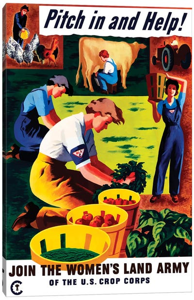 WWII Propaganda Poster Of Women Doing Chores On A Farm Canvas Art Print