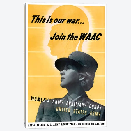 WWII WAAC Recruitment Poster Canvas Print #TRK196} by John Parrot Canvas Art