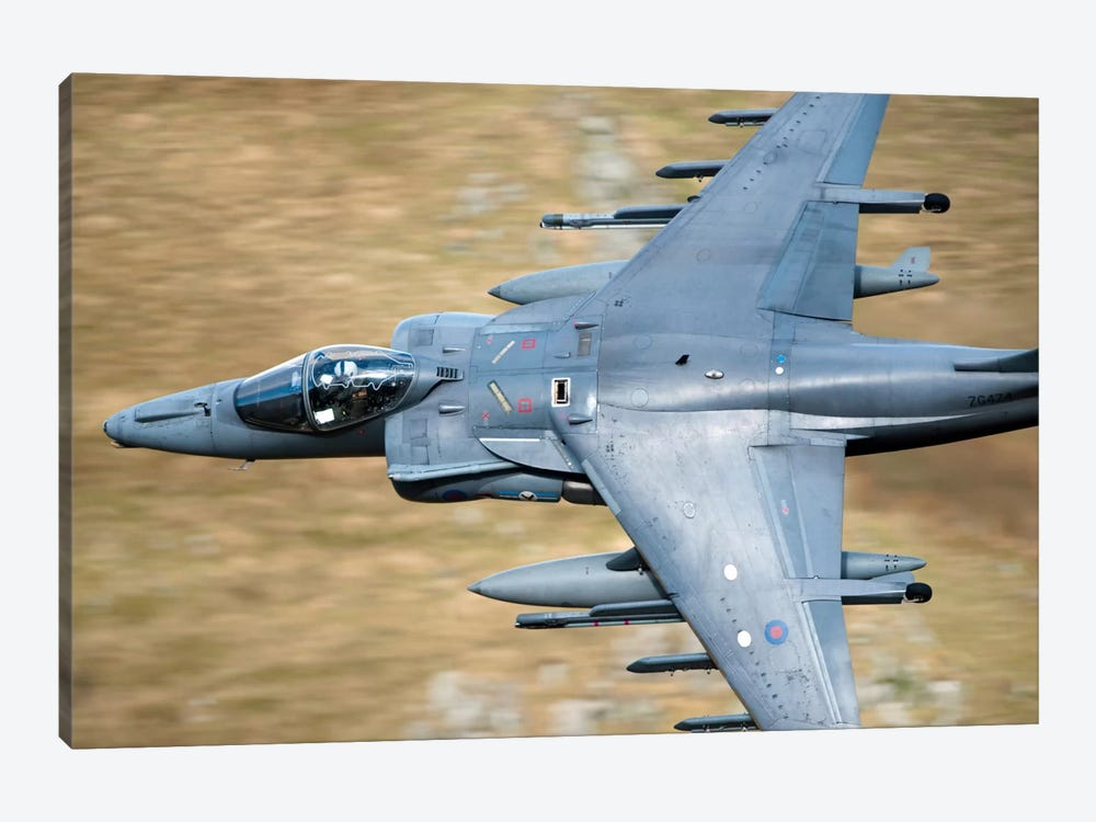 A Royal Air Force Harrier GR9 Flying Low Over North Wales by Andrew Chittock 1-piece Canvas Wall Art