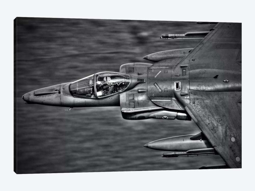 A Royal Air Force Harrier GR9 Flying Low Over North Wales, B&W by Andrew Chittock 1-piece Art Print