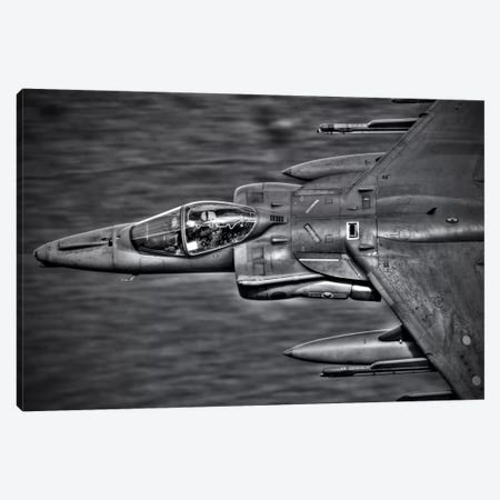 A Royal Air Force Harrier GR9 Flying Low Over North Wales, B&W Canvas Print #TRK198} by Andrew Chittock Art Print