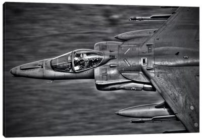 A Royal Air Force Harrier GR9 Flying Low Over North Wales, B&W Canvas Art Print