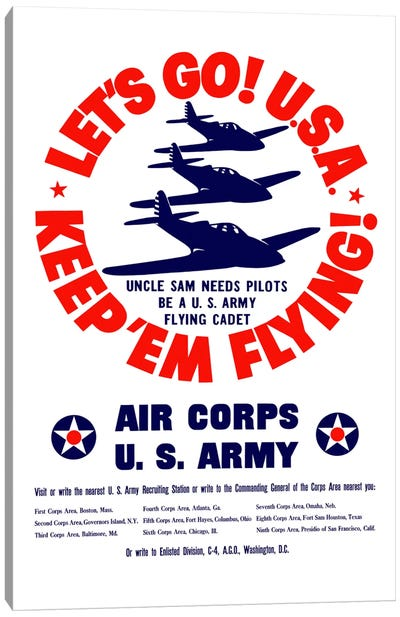 Keep 'Em Flying! US Army Air Corps Recruitment Poster Canvas Art Print