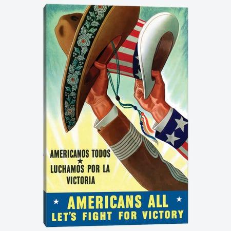 Americanos Todos Luchamos Por La Victoria Vintage War Poster Canvas Print #TRK1} by John Parrot Canvas Art