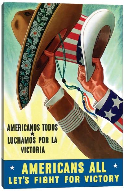 Americanos Todos Luchamos Por La Victoria Vintage War Poster Canvas Art Print