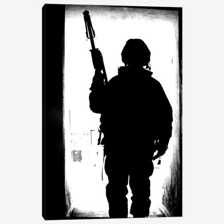Silhouette Of A British Soldier In A Doorway At Camp Condor, Iraq Canvas Print #TRK201} by Andrew Chittock Canvas Art Print