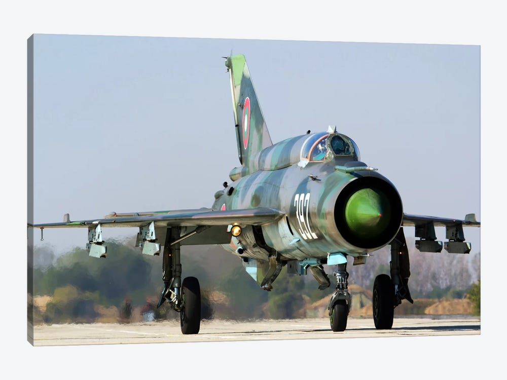 A Bulgarian Air Force MiG-21bis At Graf Ignatievo Air Base, Bulgaria by Anton Balakchiev 1-piece Canvas Art