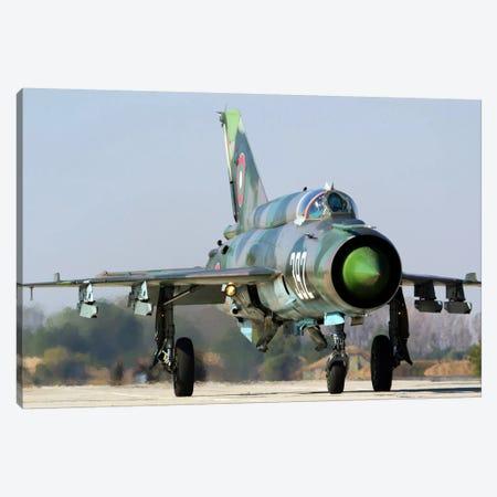 A Bulgarian Air Force MiG-21bis At Graf Ignatievo Air Base, Bulgaria Canvas Print #TRK202} by Anton Balakchiev Canvas Art Print